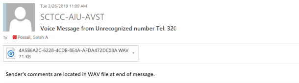 Voicemail example 1