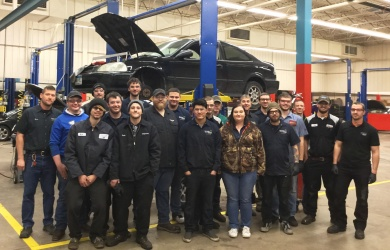 Automotive Students at the Car Care Clinic event