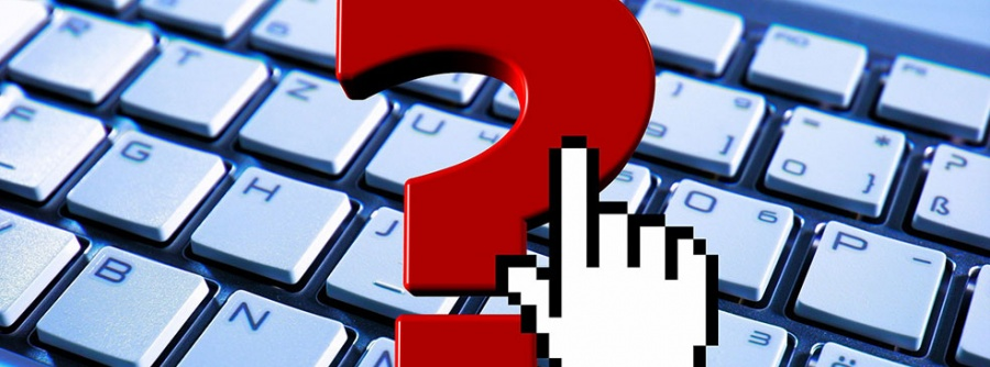 keyboard, question mark and computer pointer